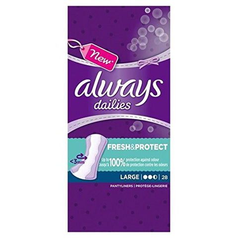 Always Dailies Large Liners 28 per pack (PACK OF 2)