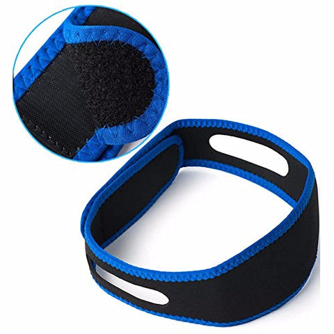 Anti Snoring Chin Strap, 2 Pack, Sleeping Aid Blue/Black, Adjustable Snore Stopper, Stop Snoring Solution - Large, Effective, Flexible, Breathable Mesh Type Snoring Aids for Men and Women