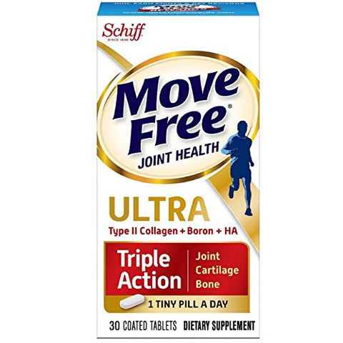 Move Free Ultra Triple Action, 30 tablets - Joint Health Supplement with Type II Collagen, Boron and HA (Pack of 2)