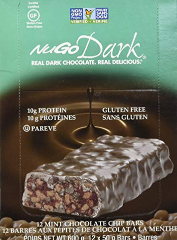 NUGO, Bar Box Dark Mint Chocolate Chip 12 Count, 1.76 Ounce