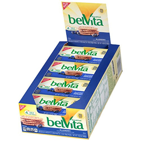 belVita Breakfast Biscuits, Blueberry Flavor, 8 Packs (4 Biscuits Per Pack)