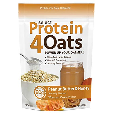 PEScience Select Protein4Oats, Peanut Butter and Honey, 12 Serving, Whey and Casein Blend for Oats and Oatmeal