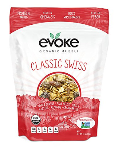 Evoke Organic Muesli Cereal, Classic Swiss, 12 oz Pack of 6 - Low Sugar, Enjoy cold or hot! Overnight Oats!