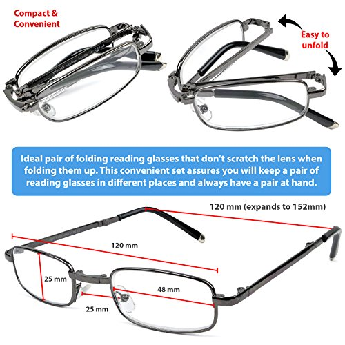 Reading Glasses Set of 2 Fashion Folding Readers with Leather Cases Brown and Gunmetal Glasses for Reading for Men and Women +2.5