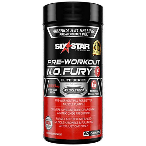 Nitric Oxide Supplement Pre Workout | Six Star Elite N.O. Fury | Pre-Workout Nitric Oxide Booster Muscle Builder | Nitric Oxide Pills for Men and Women | Workout Supplement for Men, 60 Capsules