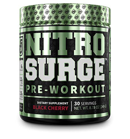 NITROSURGE Pre Workout Supplement - Endless Energy, Instant Strength Gains, Clear Focus, Intense Pumps - Nitric Oxide Booster & Powerful Preworkout Energy Powder - 30 Servings, Black Cherry
