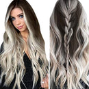 Image of SayhiFashion Womens Long Wavy Full Wigs Grey Hair Replacement Wigs Natural As Real Hair Party Cosplay Accessories