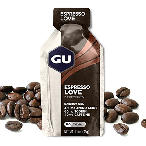 GU Energy Original Sports Nutrition Energy Gel, Espresso Love, 8 Count