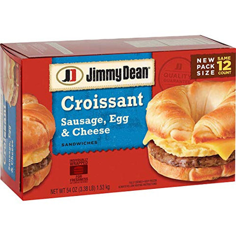 Jimmy Dean Croissant, Sausage, Egg & Cheese, 12Count (2 Pack)
