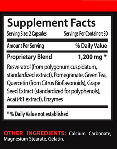 Antioxidant Supplement Good for Health - Supreme RESVERATROL 1200Mg - Resveratrol 1200-1 Bottle 60 Capsules