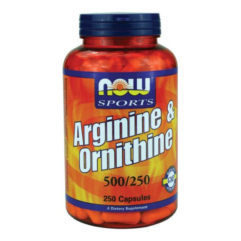 Now Foods Arginine & Ornithine 500/250mg - 250 Caps 2 Pack