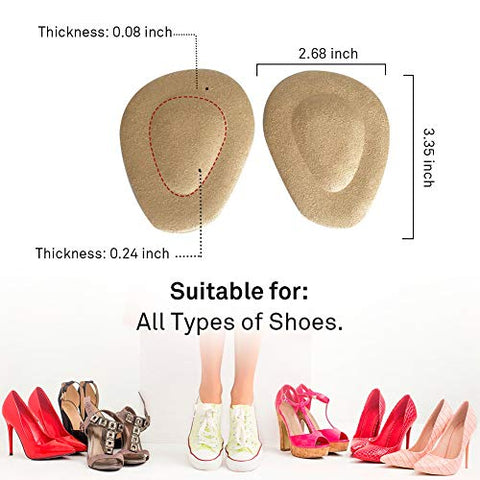 (12 Pieces) Metatarsal Pads for Women High Heels | Ball of Foot Cushions 6 Pairs Foot Pads | Shoe Cushion Inserts for Pain Relief from Neuroma, Callus, and Bunions