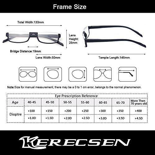 Reading glasses 2 Pair Half Moon Half Frame Readers Spring Hinge Men and Women Glasses (2 Pack Mix Color, 1.25)