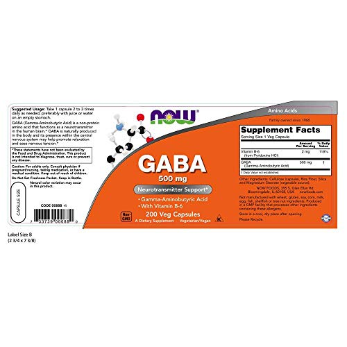 NOW Supplements, GABA (Gamma-Aminobutyric Acid)500 mg + B-6, 200 Count, Veg Capsules