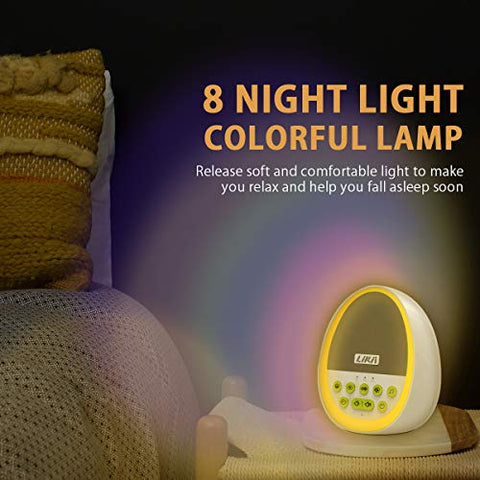 Likii White Noise Machine, Baby Night Light, 29 Sounds with 8 Colour Nightlight, Compact and Cute Egg Shape for Baby Sleep, Portable Rechargeable Sound Machine