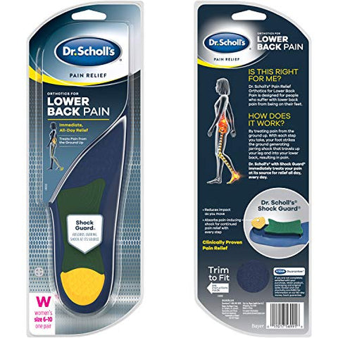 Dr. Scholl's LOWER BACK Pain Relief Orthotics // Clinically Proven Immediate and All-Day Relief of Lower Back Pain (for Women's 6-10, also available for Men's 8-14)