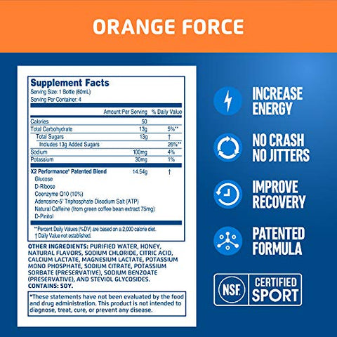 X2 Performance Pre Workout & Intra Workout Energy Shots, NSF Certified for Sport, Orange Force, Pack of 4, 2 oz Each