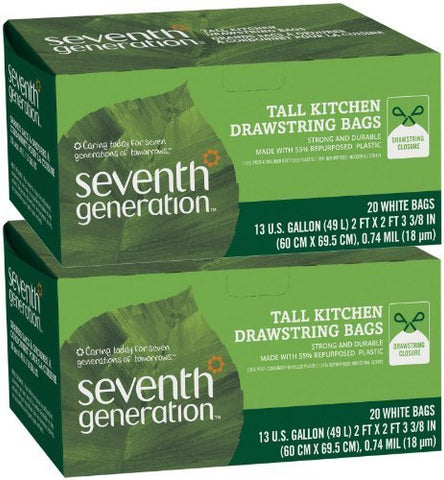Seventh Generation Drawstring Trash Bags - 13 gal - 20 ct - 2 pk by Seventh Generation