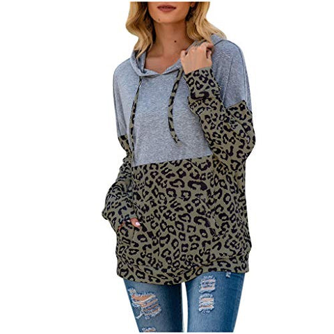 Women Fashion Tops Casual Drawstring Leopard Print Blouse Long Sleeve Hodded Stitching Hooded Shirt Drawstring Sweatshirt with Pocketv Army Green