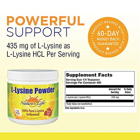 Nature's Life L-Lysine Powder | Helps Support Healthy Immune Function | 100% Pure Natural L-Lysine | Vegetarian, Unflavored, No Sugar | 460 Servings