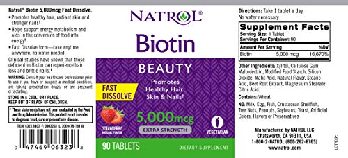 Natrol Biotin Beauty Tablets, Promotes Healthy Hair, Skin & Nails, Helps Support Energy Metabolism, Helps Convert Food Into Energy, 5, 000mcg, 90Count