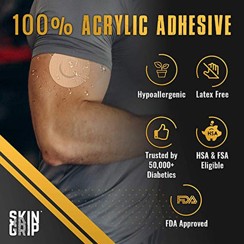 Skin Grip CGM Patches for Freestyle Libre (20-Pack), Waterproof & Sweatproof for 10-14 Days, Pre-Cut Adhesive Tape, Continuous Glucose Monitor Protection (Tan)