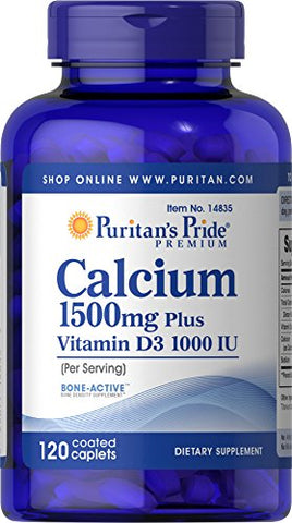 Puritan's Pride Calcium 1500 mg with Vitamin D 1000 IU-120 Coated Caplets