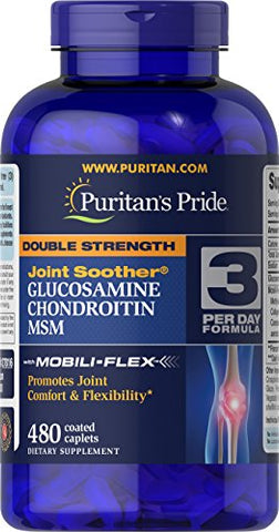 Puritans Pride Double Strength Glucosamine, Chondroitin and Msm Joint Soother, 480 Count