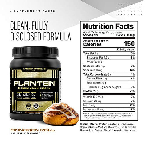 Vegan Protein Powder; Kaged Muscle Plantein, Delicious Organic Pea Protein Powder with Enhanced Absorption (15 Servings, Cinnamon Roll)