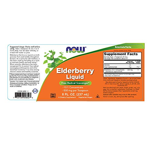 Now Supplements, Elderberry Liquid 500 Mg, 10:1 Concentrate, Free Radical Scavenger*, 8 Ounce