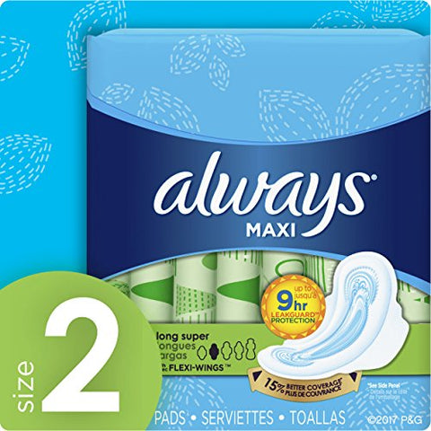 Always Maxi, Size 2, Super Pads With Wings, Unscented 16 Count