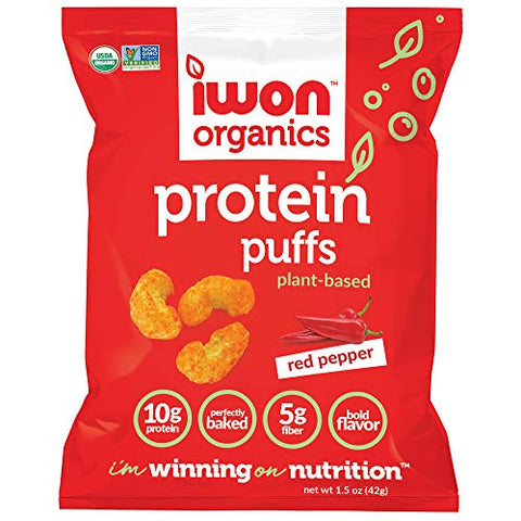IWON Organics Red Pepper Flavor Protein Puff, High Protein and Organic Healthy Snacks, 8 Bags