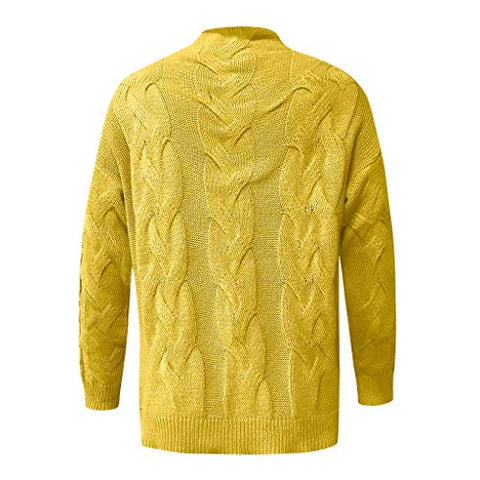 general3 Women Long Sleeve Knit Pullover Tops Fashion V-Neck Casual Striped Chunky Cable Knitted Slim Fit Sweater (Yellow, XX-Large)