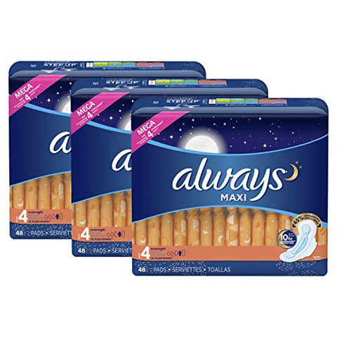 Always Maxi Feminine Pads with Wings for Women, Size 4, Overnight, Unscented, 48 Count - Pack of 3 (144 Count Total)