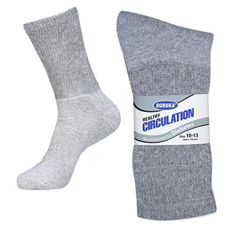 Grey/Size 9-11- 6 Pack Diabetic Crew Socks w/Non-Binding Top & Cushion Sole