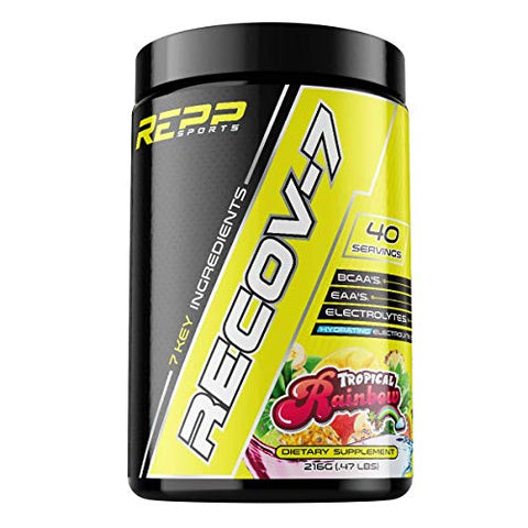 REPP Sports Recov-7 Full Spectrum EAAs and BCAAs | Advanced Recovery and Glycogen Replenishment for Intra-Workout (Tropical Rainbow, 40 Servings (216g))