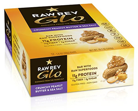 Raw Rev Glo Protein Bars Crunchy Peanut Butter & Sea Salt, 1.6 Ounce each Bar, 12 Count (Pack of 1)