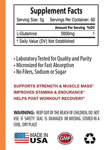 Muscle Pump Enhancer - GLUTAMINE 5000MG Powder - l-glutamine Seeking Health - 3 Cans 900 Grams