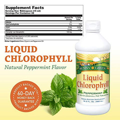 Sunny Green Liquid Chlorophyll Peppermint, 16.2-Ounce