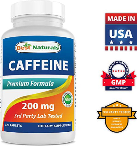 Best Naturals Caffeine Pills 200mg, 120 Count