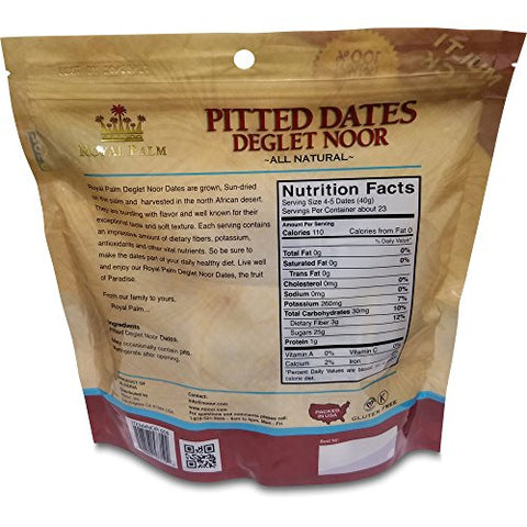 Royal Palm Deglet Noor Dates Pitted (2 oz / 8-Pack), All Natural, Certified Vegan, Gluten Free, NON-GMO Verified, Kosher