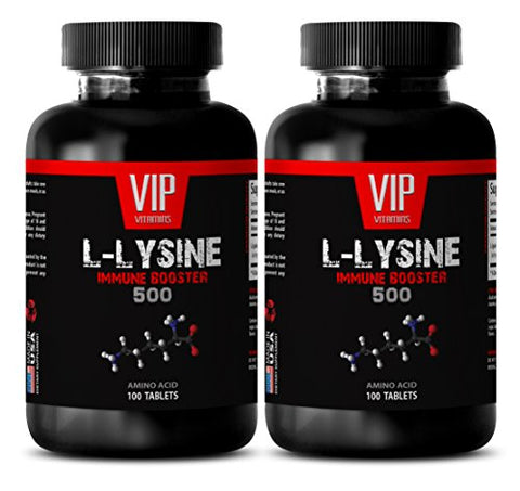 Lysine Natural - L-LYSINE Immune Booster 500 - Muscle Recovery Supplements - 2 Bottles 200 Tablets