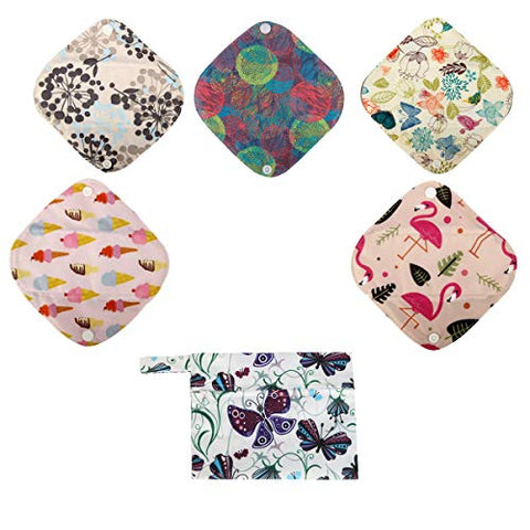 5 XS Panty Liners 1 Wet Bag Cloth Menstrual Pads Reusable Washable (Butterflies, XS Panty Liners)