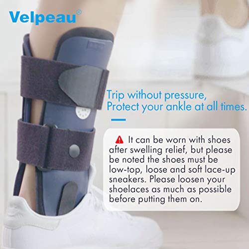 Velpeau Ankle Brace - Stirrup Ankle Splint - Adjustable Rigid Stabilizer for Sprains, Strains, Post-Op Cast Support and Injury Protection (3-Dimensional Molded Pads, Large - Right Foot)