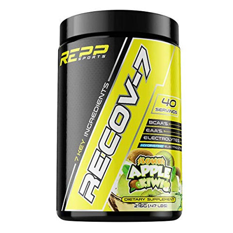 REPP Sports Recov-7 Full Spectrum EAAs and BCAAs | Advanced Recovery and Glycogen Replenishment for Intra-Workout (Sour Apple Kiwi, 40 Servings (216g))