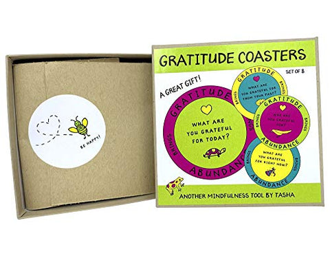 Mindfulness Tools by Tasha - Gratitude Drink Coasters - Daily Gratitude | Mindfulness Practice (Pack of 8)