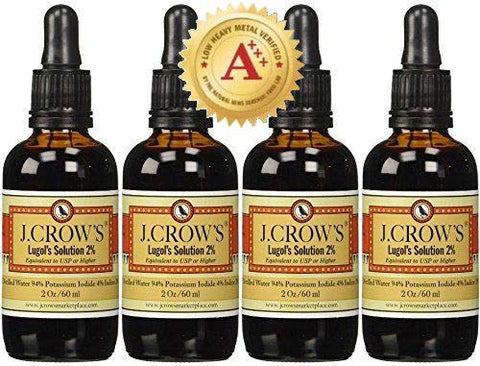 J.CROW'S Lugol's Solution of Iodine 2% 2 oz Four Pack (4 Bottles)