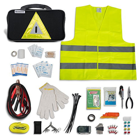 Secureguard Roadside Emergency Kit Supplies   New Version Includes Safety Hammer, First Aid Kit, Jum