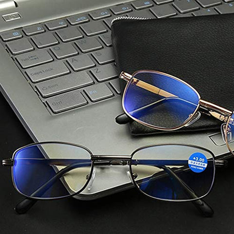 Computer Reading Glasses Ultra-Clear and Portable, Look Far and Near are Very High Definition Anti-Blue Light,Foldable Round Metal Readers with Magnification