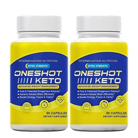 (2-Pack) One Shot Keto, One Shot Keto Fuel, Increase and Sustained Fuel, Boosts Energy, Pure & Patented Exogenous Ketones, The Official Brand Dietary Supplement